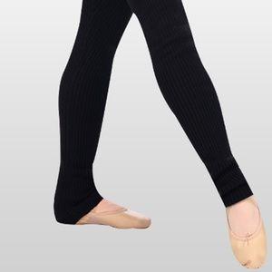 "Ballet Black stirrup leg warmers. Unisex. 36"" long"